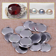 20pcs 25mm Silver Steel Round Pendant Tray For Cabochon Setting Blank Bezel Base