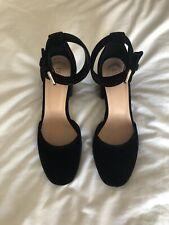 Valentino RED(V) Ankle Strap Sandals Black Velvet 36 Size 3