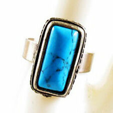 TURQUOISE RING fashion retro vintage style pattern Finger Adjustable silver blue