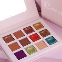 12Colors Matte Pearlescent Glitter Lidschatten Pigment Shimmer Palette Make E8X8