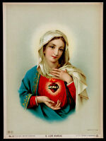 ANTIQUE Vintage c1900 SACRED HEART / VIRGIN MARY Lithograph Print CATHOLIC ICON