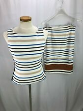 White House Black Market Striped 2 Piece Sleeveless Skirt Set 4
