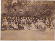 OLD ALBUMEN PHOTO VICTORIAN FASHION YOUNG GIRLS HORBURY WAKEFIELD ANTIQUE C.1880