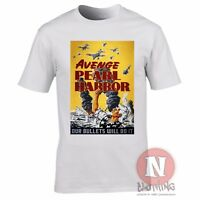 World War 2 USA propaganda Avenge Pearl Harbor t-shirt military history harbour