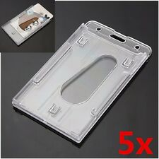 5Pcs Multi Clear Hard Plastic Vertical Credit Card Holder Badge ID Cover Cases