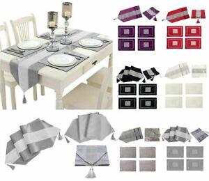 "Diamante Velvet Table Runner + Dining Placemats Table Place Mats Decor 5 Pcs 72"""