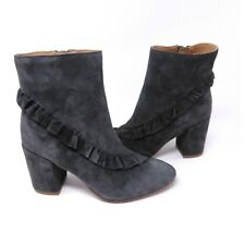 3acd2031861 Latigo Kahlia Leather Suede ankle boots womens 6 m block heel ruffle accent