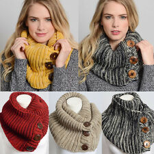 Women Winter Warm FASHION CABLE KNIT BUTTON Long INFINITY COWL SCARF WRAP LOOP