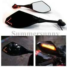 Universal Motorcycle Rear View Side Mirrors with LED Turn Signal Light for Honda