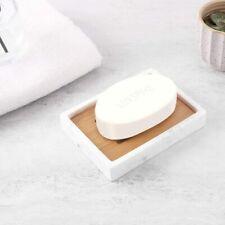 Luxspir Soap Dish Tray Marble Bamboo Soap Bar Holder Box for Bath Shower Kitchen