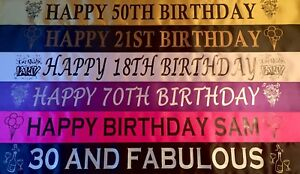 PERSONALISED BIRTHDAY 16TH 18TH 21ST 30TH 40TH 50TH 60TH 70TH BANNERS (CHEAP)