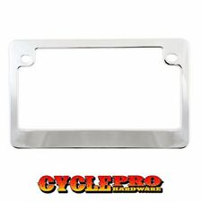 2 Hole Show Chrome Metal Deluxe License Plate Frame Touring & Street Motorcycle