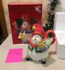 Mint In Box! Fitz And Floyd Woodland Snowman Porcelain Teapot Jamboree