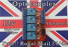 12v 4 Canales el módulo De Relé Con Optoacoplador aislamiento Alta Y Baja Gatillo Reino Unido