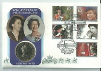 GB QEII PNC COIN COVER 1992 40TH ANNIVERSARY ACCESSION £2 ALDERNEY COIN BLUE