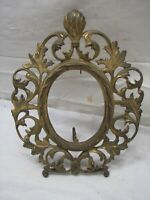 Early Cast Iron Brass Tone Art Nouveau Ornate Oval Stand Up Picture Frame Photo