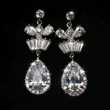 GORGEOUS 18K WHITE GOLD PLATED GENUINE CUBIC ZIRCONIA LONG DANGLE  EARRINGS