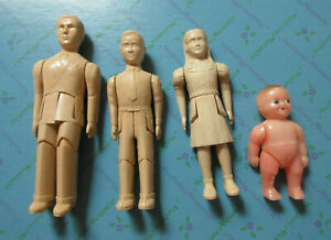 RENWAL USA DOLLHOUSE FIGURES UNPAINTED  44, 42, 41  Dad, Son, Daughter, Baby