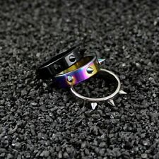 Mens silver black tribal gothic bikers ring band spike punk emo gift new R14