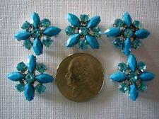 2 Hole Slider Beads X-Flower Turquoise/Aqua Crystal Made w/Swarovski Elements #5