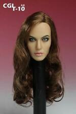 """CGL 12"""" Female Head Sculpt Action Figure Body 1:6 Scale Angelina Jolie Girl Toy"""