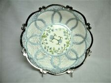 Antique Bone China Porcelain Reticulated Lattice Bowl Hand Painted Signed Mint