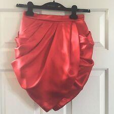 H&M HM Balmain Draped Red Silk Skirt Tulip Size 4 US Art.No. 24-3751