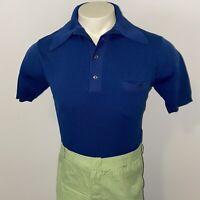 Vtg 50s 60s Ignazio Banlon Shirt Stretchy NAVY Rat Pack Midcentury MENS SMALL