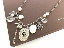 Silpada Pearl Cubic Zirconia Sterling Silver Enchanted Charm Necklace - N2805