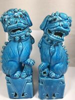 Vintage Turquoise Blue Chinese Foo Dog Lion Figurine Statues 8 Inches tall