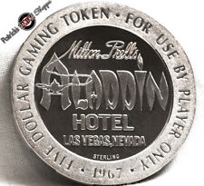 $5 FULL PROOF STERLING SILVER SLOT TOKEN ALADDIN CASINO 1967 FM MINT LAS VEGAS