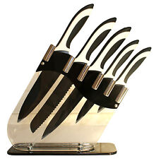 Messerset + Messerblock Edelstahl + Acryl lifestyle NEU 6 tlg. schwarz/weiß