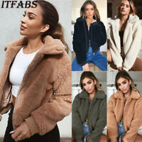 US Women Ladies Warm Teddy Bear Fleece Tops Jacket Zip Up Oversize Outwear Coats