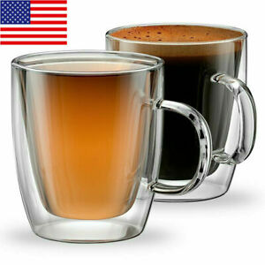 2pcs Double-Wall Insulate Glass cups Coffee Mugs Thermo Insulated Tea Espresso