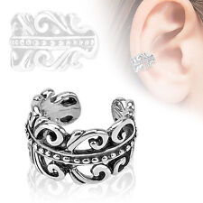 Carved Swirls Rhodium Plated Brass Non Piercing Cartilage Ear Cuff Ring
