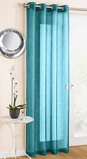 Glitter Sparkle Effect Voile Net Curtain Panel Eyelet Ring Top Ready Made Teal Blue 183 X 138cm / 72 X 54in