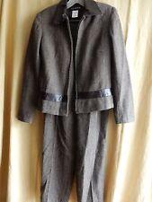 Pants Suit Size 4 Brown Herringbone Wool Blend Faux Leather Trim 2 Pc.  JG Hook