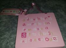 pink wall hanging wishes & kisses daughter is a miracle sent from above plaque.