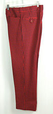 Vtg 70s Polyester Pants High Waist Houndstooth Check Red & Navy size 32/3 3X 31
