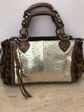 Beverly Feldman Gold Bronze Leather Leopard Pony Hair Satchel Handbag GORGEOUS**