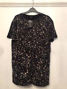 New Look Man Black Splatter Paint T-Shirt Size Medium NEW WITH TAGS
