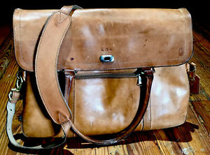 VTG HARTMANN Luggage Tote Bag Carry On Brown Tan Leather Overnight