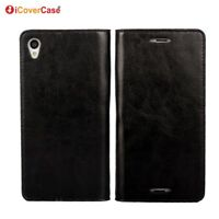 Luxury Genuine Leather Wallet Flip Case Stand Cover For Sony Xperia Z3
