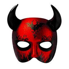 Máscara De Diablo Rojo Halloween Máscara Facial Vestido De Fantasía Veneciana Mascarada Fina Nuevo