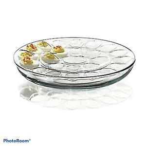 Anchor Hocking Presence Glass Multi-Use 3 Piece Deviled Egg Serving Set NiB