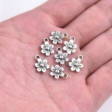 30X Tibetan Silver Both Sides Little Flower Charm Pendant For Earrings/Bracelet