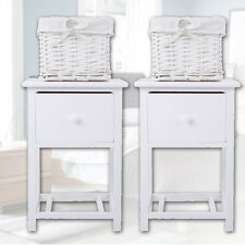 Panana Pair of Shabby Chic Bedside Units Bedroom Tables Drawers/ Wicker Storage