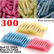 300Pcs 22-10Awg Heat Shrink Butt Wire Connectors Electrical Crimp Terminals Kit