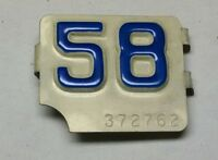 1958 Connecticut CT Metal License Plate Tab Tag