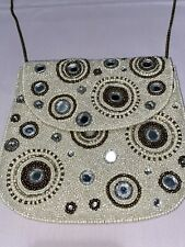 """From St. Xavier Beaded Bagua Design 7.5 """" H x 8"""" W Flap Snap Strap Drop 20�"""